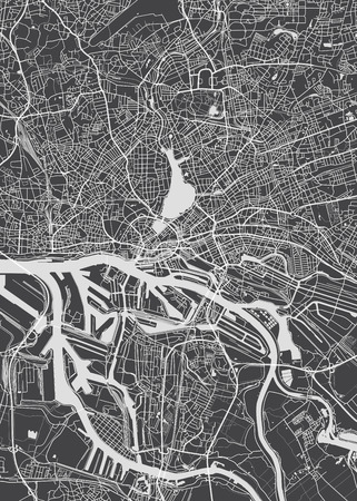Hamburg city plan, detailed vector map