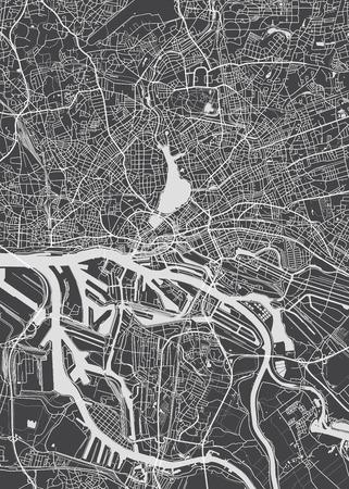 Hamburg city plan, detailed vector map