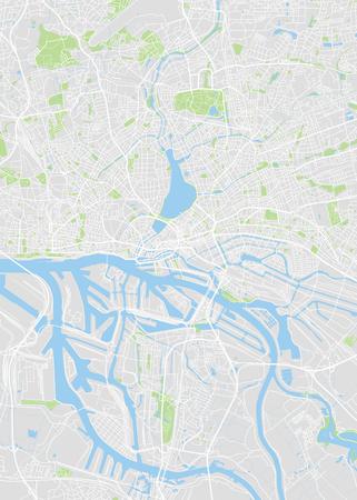Hamburg colored vector map Illustration