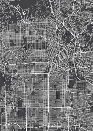 Los Angeles city plan, detailed vector map Vectores