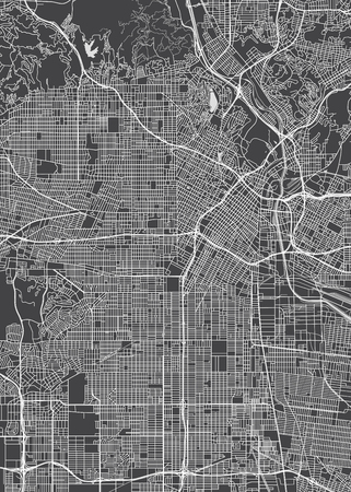 Los Angeles city plan, detailed vector map Illustration