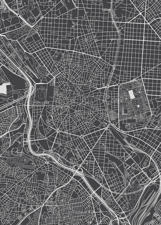 Madrid city plan, detailed vector map Illustration