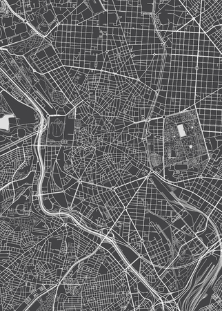 Madrid city plan, detailed vector map Illustration