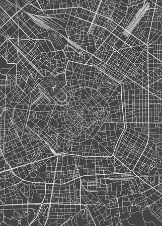 Milan city plan, detailed vector map