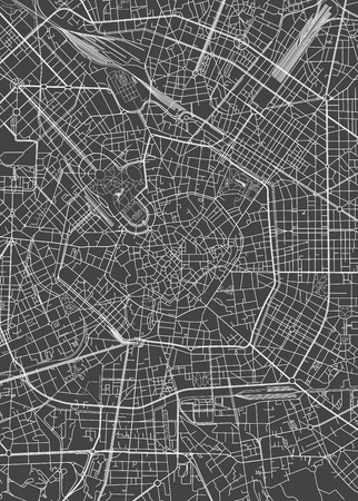 Milan city plan, detailed vector map