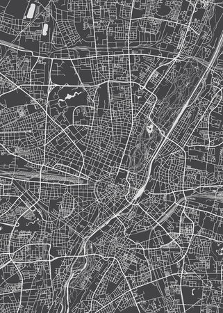 Munich city plan, detailed vector map