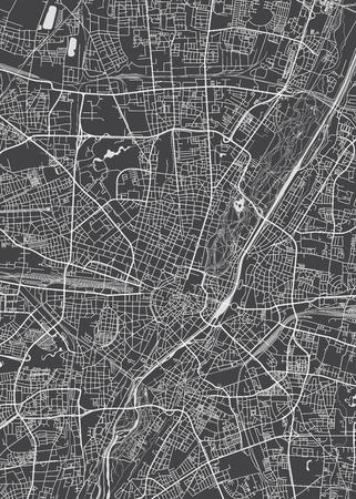 München stadsplan, gedetailleerde vector kaart