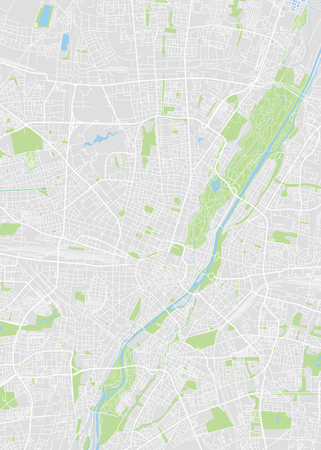 Munich colored vector map isolated on gray background.