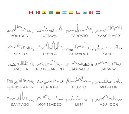 North and South America skyline city line art, vector Illustration design