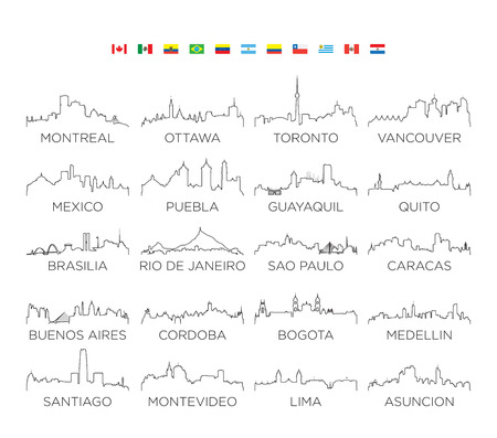 North and South America skyline city line art, vector Illustration design