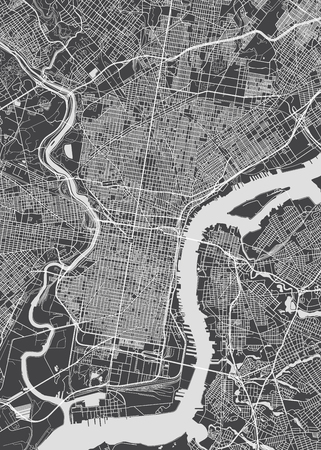 Philadelphia city plan, detailed vector map Ilustração