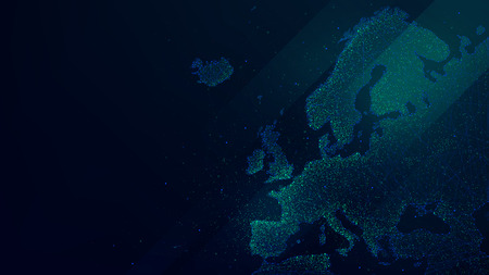 Polygonal map of Europe with luminous particles, technology futuristic vector background Foto de archivo - 95598049