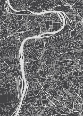 Prague city plan, detailed vector map Stock Illustratie