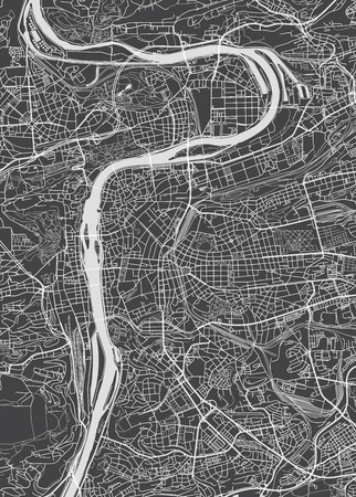 Prague city plan, detailed vector map Illustration