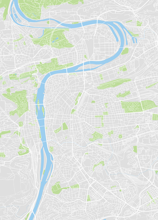 Prague colored vector map on aerial view.