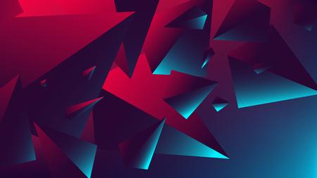 三角形に反射を持つ赤い青いネオンライト、グラデーションベクトルのイラスト