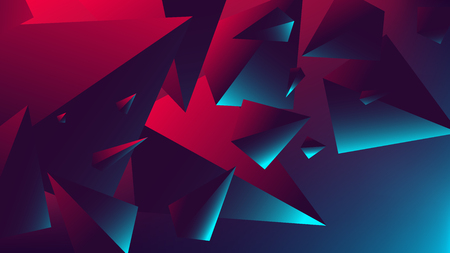 Red blue neon light with a reflection on a triangle, gradient vector illustration Stock Illustratie