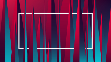 Red blue neon light with a reflex on geometric figures, vector illustration