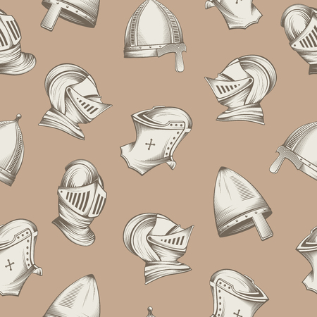 Seamless pattern with medieval helmets, sketch style engraving, vector illustration