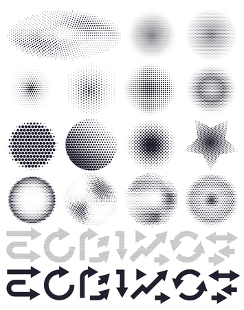 Set of abstract vector halftone and arrows, elements of design Çizim