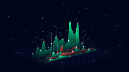 Puntos de conexión abstractos de telón de fondo de tecnología, gráfico de datos de infografía futurista