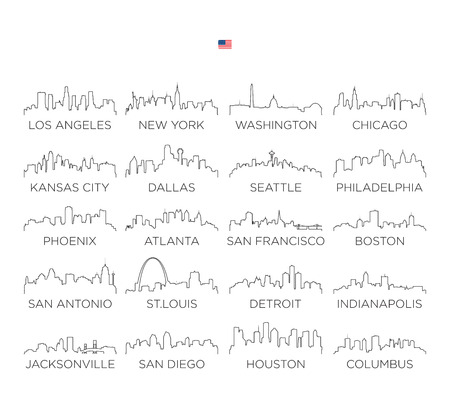 USA skyline city line art, vector Illustration design Ilustracja