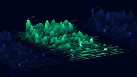 Vector business chart of financial statistics, big data futuristic infographics design