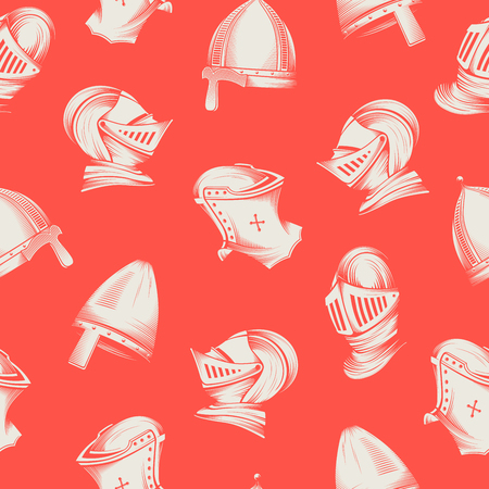 Vector seamless pattern with medieval helmets, sketch style engraving