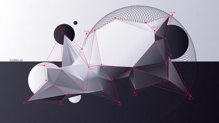 Formes géométriques abstraites chaotiques low poly, arrière-plan d'analyse numérique