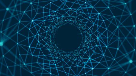 Fondo poligonale vettoriale astratto con linee e punti collegati che formano un cerchio