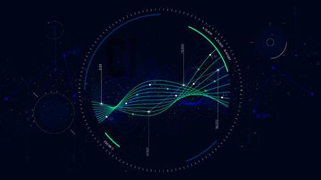 Big data network visualization, Interface screen infographic digital illustration