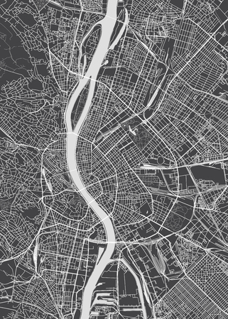 Budapest city plan, detailed vector map