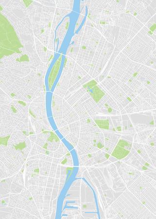 Budapest farbige Vektorkarte