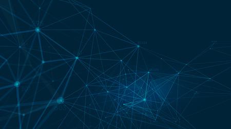 Connected polygons plexus vector background, digital data visualization
