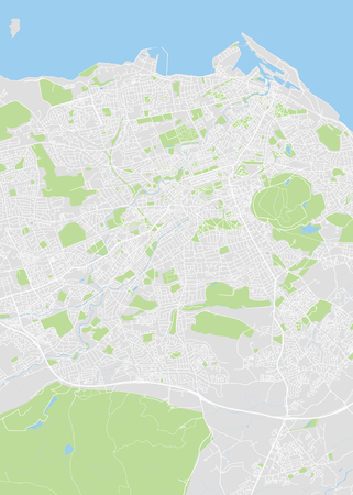 Detailed vector color map of Edinburgh Ilustração