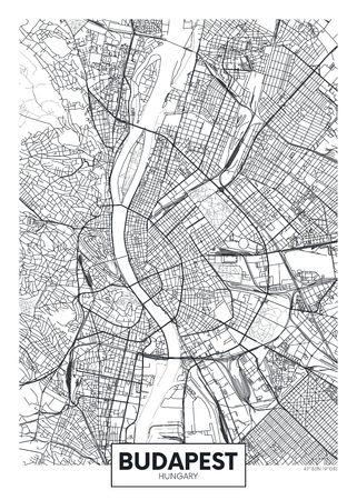 Detailed vector poster city map Budapest Ilustrace
