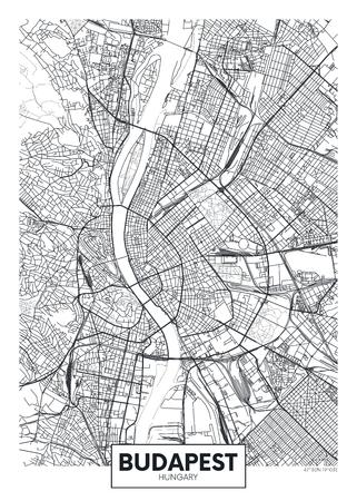 Detaillierter Vektor-Plakat-Stadtplan Budapest Vektorgrafik