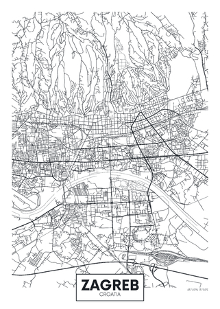 Detailed vector poster city map Zagreb Illustration