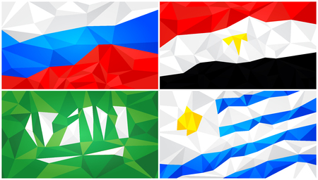 Low poly flag, abstract polygonal triangular background set 1 Illustration