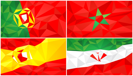 Low poly flag, abstract polygonal triangular background set 2