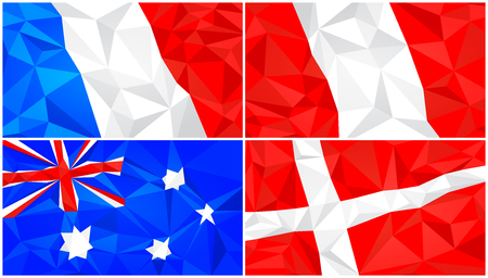 Low poly flag, abstract polygonal triangular background set 3 스톡 콘텐츠 - 114026600