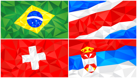 Low poly flag, abstract polygonal triangular background set 5