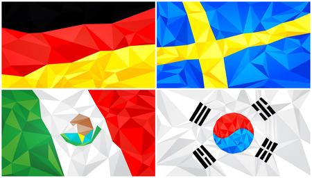 Low poly flag, abstract polygonal triangular background set 6 Illusztráció