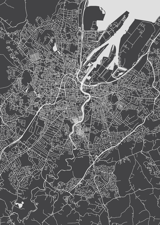 Monochrome detailed plan city of Belfast