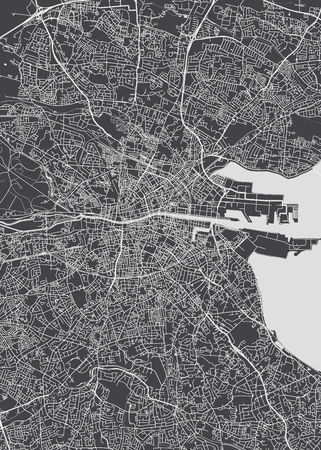 Monochrome detailed plan city of Dublin 일러스트