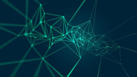 Estructura del plexo de conexión de red formando un patrón geométrico, Fondo de vector abstracto