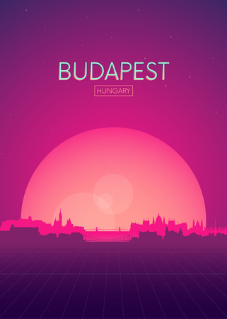 Travel poster vectors illustrations, Futuristic retro skyline Budapest