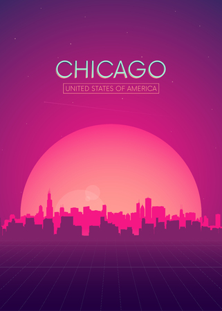 Travel poster vectors illustrations, Futuristic retro skyline Chicago