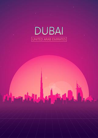 Travel poster vectors illustrations, Futuristic retro skyline Dubai Ilustracja