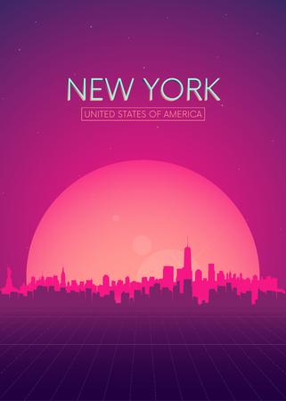 Travel poster vectors illustrations, Futuristic retro skyline New York